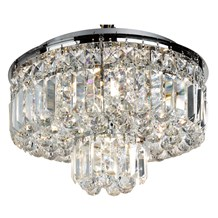 HAYLEY - 5LT FLUSH CEILING, CHROME WITH CLEAR CRYSTAL COFFINS TRIM & BALL DROPS