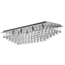 HANNA - 8LT RECTANGLE FLUSH, CHROME, CRYSTAL PYRAMID DROPS