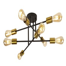 ARMSTRONG 8LT CEILING LIGHT BLACK AND SATIN BRASS