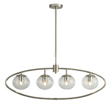 PENDANT 4LT WITH GLASS BALLS, SATIN SILVER