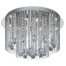 BEATRIX  8LT CEILING FLUSH, CHROME WITH TWIST TUBES AND CLEAR CRYSTAL BALL DROPS