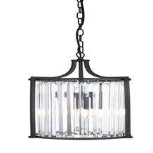 VICTORIA 2LT PENDANT, MATT BLACK WITH CRYSTAL GLASS