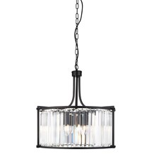 VICTORIA 5LT DRUM PENDANT, MATT BLACK WITH CRYSTAL GLASS
