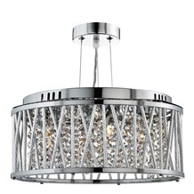 ELISE 3LT CEILING FLUSH/PENDANT, CHROME, CLEAR CRYSTAL BUTTON DROPS, ALUMINIUM T