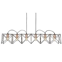 ANTHEA 6LT BLACK FRAME PENDANT WITH COPPER DETAIL