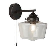 SCHOOL HOUSE 1LT WALL LIGHT , BLACK WITH OPAL GLASS