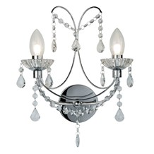 AUTUMN 2LT BATHROOM WALL LIGHT, CHROME WITH CRYSTAL GLASS
