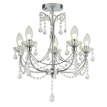 AUTUMN 5LT BATHROOM CHANDALIER, CHROME WITH CRYSTAL GLASS