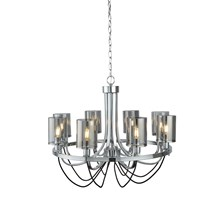 CATALINA 8LT CEILING, CHROME, BLACK BRAIDED CABLE, SMOKED GLASS SHADES
