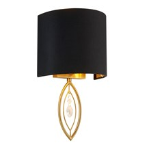 WALL LIGHT - GOLD WITH BLACK SHADE AND CRYSTAL DROP