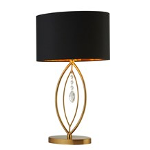 CROWN GOLD TABLE LAMP,  BLACK OVAL SHADE,  GOLD INTERIOR SHADE