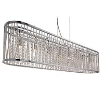 ELISE 8LT OVAL CEILING, ALUMINIUM TUBES TRIM, CHROME, CLEAR CRYSTAL DROPS