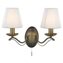 ANDRETTI - 2LT WALL BRACKET, ANTIQUE BRASS, CREAM STRING SHADES
