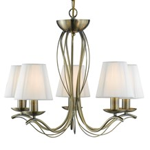 ANDRETTI - 5LT CEILING, ANTIQUE BRASS, CREAM STRING SHADES