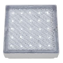 LED OUTDOOR&INDOOR  RECESSED WALKOVER CLEAR 15cm SQUARE WHITE LED