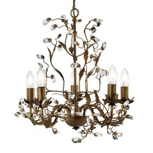Almandite Brown Gold Finish 5 Light Chandelier With Crystal Dressing