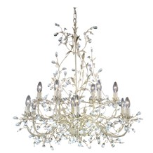Almandite Cream Gold Finish 12 Light Chandelier With Crystal Dressing