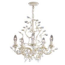 Almandite Cream Gold Finish 5 Light Chandelier With Crystal Dressing