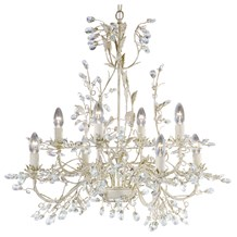 Almandite Cream Gold Finish 8 Light Chandelier With Crystal Dressing