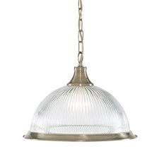 American Diner Antique Brass Pendant With Clear Ribbed Glass