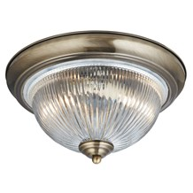 American Diner Ip44 Antique Brass Flush Fitting With Clear Ribbed Glass