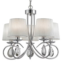 ANGELIQUE - 5LT CEILING, CHROME, WHITE SHADES, CLEAR GLASS