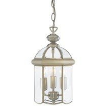 Antique Brass 3 Light Domed Lantern With Bevelled Glass Shade