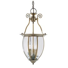 Antique Brass 3 Light Lantern With Curved Bevelled Glass Shade