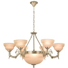 Antique Brass 9 Light Fitting With Amber Marble Glass Shades
