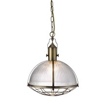 Antique Brass Industrial Pendant Light With Clear Ribbed Glass