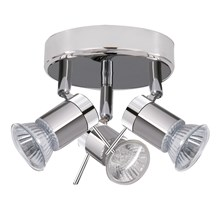 Aries Ip44 Chrome & Satin Silver 3 Light Spotlight