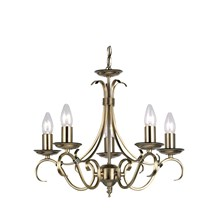 Bernice Antique Brass 5 Light Pendant E13 2 x 60W Endon 2030-5AN
