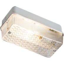 230V IP65 100W (BC) B22 Bulkhead with Clear Prismatic Diffuser and Aluminium Bas
