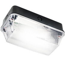 BH22PB 230V IP65 60W B22 Bulkhead with Clear Prismatic Diffuser and Black Plasti