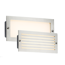 230V IP54 5W White LED Recessed Brick Light - Brushed Steel Fascia