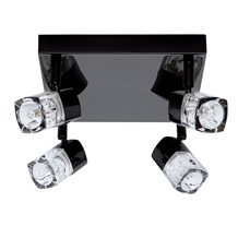 Blocs Black Chrome 4 Light Spotlight With Ice Cube Glass
