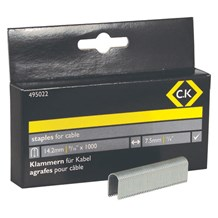 C.K Cable Staples 7.5mm wide x 14.2mm deep Box Of 1000