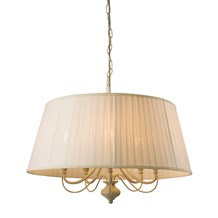 Chester Brushed Gold/Cream  5 Light Pendant 40W Candle E14 Endon 60934