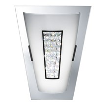 Chrome 16 Led Wall Light With White Glass Shade & Crystal Inner Decoration