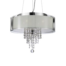 Chrome 4 Light Pendant With Frosted Glass Panels & Clear Glass Drops
