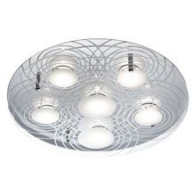 Chrome 6 Led Flush Light With Clear Glass & White Etched Circular Pattern