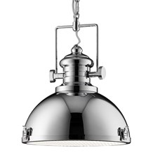 Chrome Industrial Pendant Light With Frosted Glass Lens