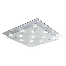 Chrome Led Square Flush Light With Clear & Frosted Glass Shade