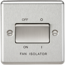 CL11BC 10AX 3 Pole Fan Isolator Switch - Rounded Edge Brushed Chrome