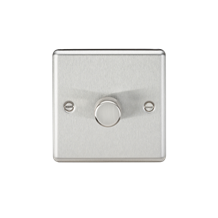 1G 2 way 10-200W (5-150W LED) trailing edge dimmer - Rounded Edge Brushed Chrome
