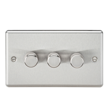 CL2183BC 3G 2 way 10-200W (5-150W LED) trailing edge dimmer - Rounded Edge Brush