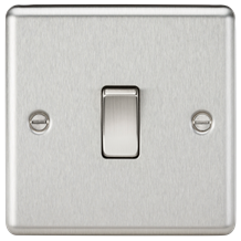 10A 1G 2 Way Plate Switch - Rounded Edge Brushed Chrome