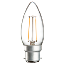 230V 2W LED 35mm BC Clear Candle 3000K