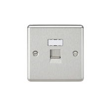 RJ45 Network Outlet - Rounded Edge Brushed Chrome