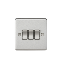 CL4BC 10AX 3G 2 Way Plate Switch - Rounded Edge Brushed Chrome
